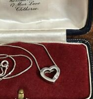"""925 Sterling Silver & CZ Clear Stone Heart Pendant Necklace Chain 16"""" 41cm (D3F)"""