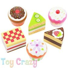 Wooden Cupcake Muffin Chocolate Cake Desert Pretend & Play Kitchen Toy 6pcs