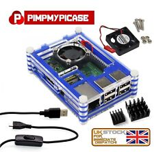Raspberry Pi 3 & 2 B+ Starter Kit (Blue Case, Fan, Cable, Heat sink) Retropie