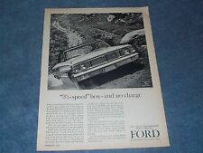 """1964 Ford Galaxie Vintage Ad """"3 1/2-Speed"""" Box - and No Charge"""""""