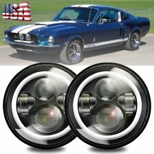 """For Ford Mustang 1965-1978 7"""" INCH Black LED Headlight Halo Angel Eye Ring Pair"""
