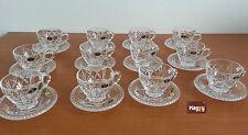 service de 12 tasses a cafe a the et 12 sous tasses en cristal de boheme $ verre