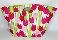 Clinique Canvas Bag with Red and Pink Tulips Beach Pool Tote