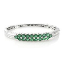 """New 925 Sterling Silver Platinum Plated Emerald, Zircon Bangle 7.25"""" Cttw 5.9"""