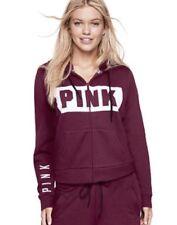 Vs Victorias Secret Pink Perfect Full Zip Hoodie Sweater Jacket Top Deep Ruby XS