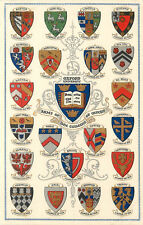 Vintage Postcard Oxford University Coats Of Arms of the Colleges England UK