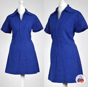 ROYAL BLUE, WOOL BLEND 1960s VINTAGE MOD GOGO MICRO MINI DRESS 12