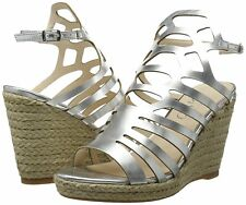 Womens Size 9 42 Silver High Heel Wedge Caged Transvestite CD Drag Sandals Shoes UK 9
