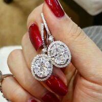 Hoop Shiny 925 Silver U-shape Huggie Diamond Earrings Women Engagement Jewelry