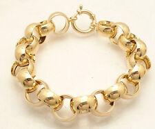 "9"" Technibond All Shiny Rolo Circle Link Bracelet 14K Yellow Gold Clad Silver"