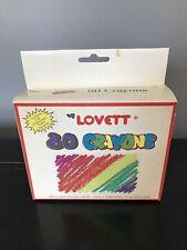 Rare Vintage 1990's Lovett 80 Count Non Toxic Crayons Nib