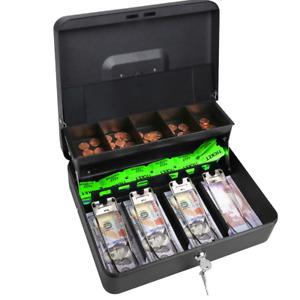 Metal Cash Box Locking Money Tray w/Lock&Key Security Safe Check Storage Coins