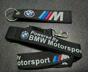 "BMW Motorsport Logo Keychain Lanyard Clip with Webbing Strap 1"" X 20"" w/ Bonus"