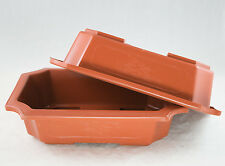 "2 Rectangular Plastic Bonsai / Succulent Pot 11.25""x 7.75""x 2.75"" - Dark Orange"