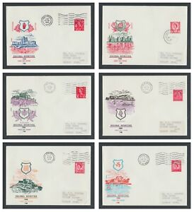 +++ 1969 4d BRIGHT VERMILION SET of 6 REGIONAL FIRST DAY COVERS +++