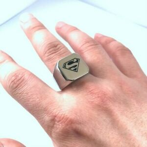 Herren Ring Silber NEU schwer Massiv Gr 12 Comic Held Biker , Ein  Supermann TOP