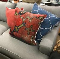 Pottery Barn Dara Pillow Cover Red 22 sq Persian Velvet Floral Rug Design New