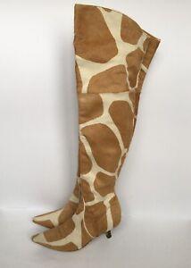 VALENTINO Animal Print Pony Hair Knee High Boots Size 36 IT
