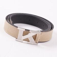 New $950 KITON NAPOLI Monogram K Buckle Ivory Beige Calf Leather Belt 36 W