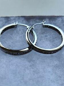 Swarovski Elements Hoop Earrings Silver Color