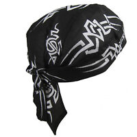 Mens Fitted Bandana Zandana Headscarf Wrap Easy Tie Black White Tribal Blaze
