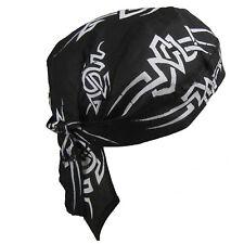 Mens Fitted Bandana Zandana Headscarf Wrap Easy Tie Black White Tribal Blaze