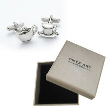 Mens Cup & Tea Pot Cufflinks & Gift Box By Onyx Art
