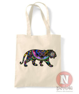 Tiger tote bag Indian floral design flowers shopping 100% cotton environmental