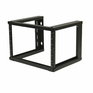 "6U Wall Mount Open Frame 19"" Server Equipment Rack Threaded 16 inch depth Black"