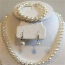 Silver Pearl Bracelet Necklace Pendant Earrings Women Party Jewelry Set Gift