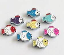 10PCS 8MM Mixed color Fish Slide Charms Fit 8mm Bracelet,Pet collar Belts Strips