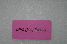100 x PINK WITH COMPLIMENTS Sticky Labels / Stickers 50mm x 25mm Adhesive