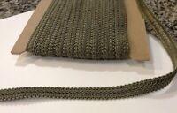 Antique Vintage Silk Soutache Braided Trim  Double Cord On Base   Medium Sage