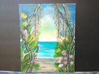 Original Acrylic Painting 8x10 Canvas Panel,Island Beach Jungle  Ocean  Art
