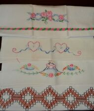 Vtg. Rose,Hearts, Cotton Linen Embroidered Kitchen Hand Towels (4)