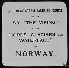 Glass Magic lantern Slide SAILING YACHT VIKING NORWAY CRUISE C1910 SHIP ATRATO