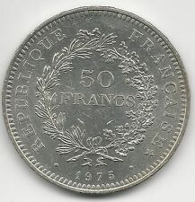 FRANCE,  1975,  50 FRANCS, SILVER,  KM#941.1,  BRILLIANT UNCIRCULATED