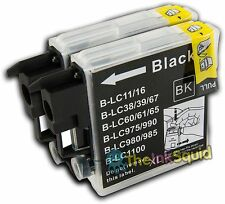 2 Compatible Black LC985 (LC39) Ink Cartridges for Brother DCP-J515W Printer