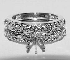 Alwand Vahan Bridal Set 14K Gold Diamond Engagement Mounting Ring Wedding Band