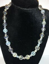 Vintage Clear Faceted Crystal Bead Necklace - 18 inch - AB Finish SALE