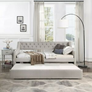 Elegant Daybed w/Trundle Upholstered Tufted Linen Sofa Bed Twin Size Beige