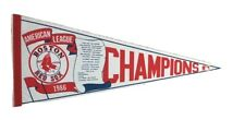 Vintage 1986 Boston Red Sox American League Champions Full Size Felt Red Pennant