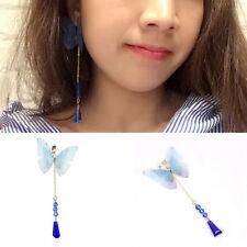 Fashion Women Fabric Butterfly Crystals Single Ear Cuff Ear Clip Earring Dangle