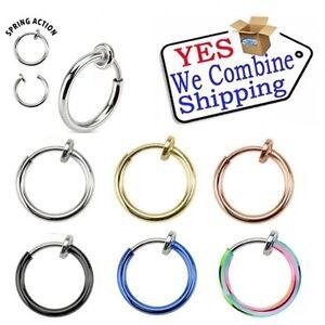Fake Piercing Hoop Ring Spring Clip On Lip Nose Septum Ear Earring 8mm 10mm 12mm