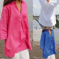 Plus S-5XL Women Solid Loose Cotton Blouse Shirt Pullover Plain Tops Jumper Q1P1