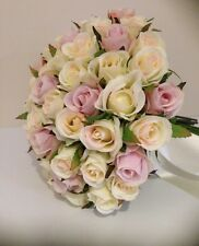 IVORY & ORCHID ROSES POSY 60 BUDS WEDDING  BOUQUET ARTIFICIAL SILK FLOWER