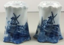 Antique Blue Delft Salt & Pepper Shakers Marked Rosenthal Versailles Germany
