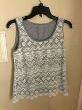 White Crochet Knitted Lace TANK TOP Lined Grey BLOUSE SHIRT Size Medium