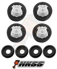 4 Black Custom License Plate Frame Tag Screw Cap Covers - POLICE BADGE J45
