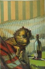 1870's-80's Victorian Trade Card Dog Playing Sick In Bed Bottle Of Medicine P82